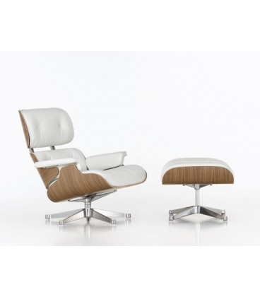 Lounge Chair & Ottoman. Nogal Pigmentado Blanco. Piel Color Blanco