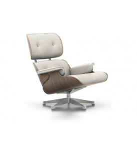 Lounge Chair. Nogal Pigmentado Blanco. Piel Color Blanco