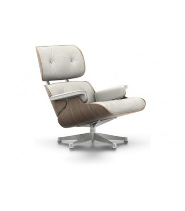 Lounge Chair. Nogal Pigmentado Blanco. Piel Color Blanco