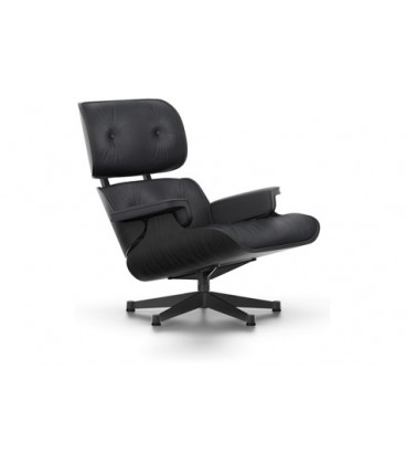 Lounge Chair. Fresno barnizado en negro. Piel Color Negro